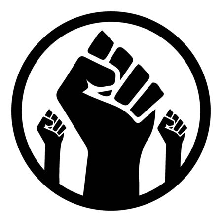 Black Lives Matter. Black and white illustration depicting Three BLM Fist in Circle.