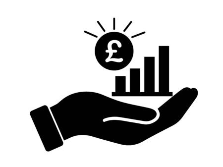 Palm Out GBP Growth Bar Chart. Black Illustration Isolated on a White Background.