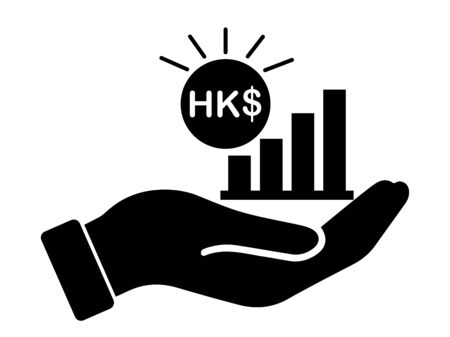 Palm Out HKD Growth Bar Chart. Black Illustration Isolated on a White Background.