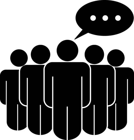 Group with Speech Bubble on Leader. Black Illustration Isolated on a White Background. Vektorové ilustrace