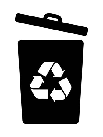 Recycling Bin Can Dumpster With an Opened Lid. Black Illustration Isolated on a White Background. Stock Illustratie