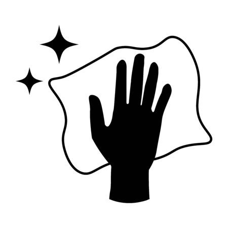 Hand Arms Wiping Cleaning With Cloth and Sparkling Stars. Black Illustration Isolated on a White Background.
