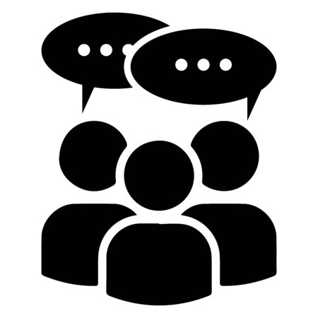 Multi User Icon with Speech Bubble. A Group of Stick Figure People Man Talking Chatting Discussing Meeting. Black and white illustration. Vettoriali
