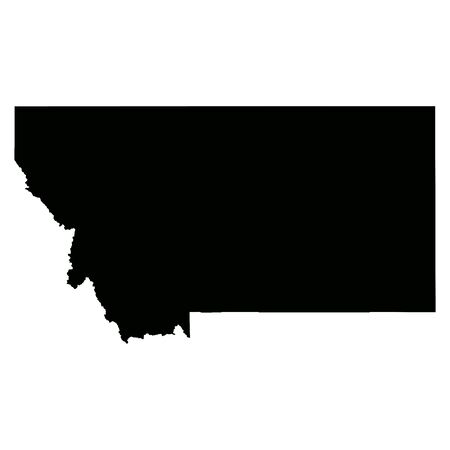 Montana MT state Maps. Black silhouette solid map isolated on a white background. EPS Vector 向量圖像