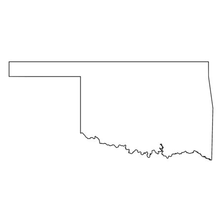 Oklahoma OK state Maps. Black outline map isolated on a white background. EPS Vector