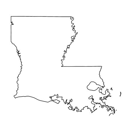 Louisiana LA state Maps. Black outline map isolated on a white background. EPS Vector