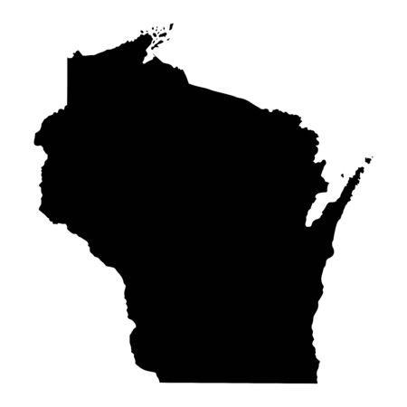 Wisconsin WI state Map USA. Black silhouette solid map isolated on a white background. EPS Vector Ilustração