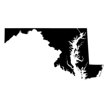 Maryland MD state Maps. Black silhouette sold map isolated on a white background. EPS Vector Illustration