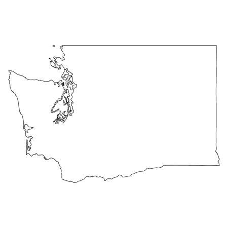 Washington WA state Map USA. Black outline mao isolated on a white background. EPS Vector Vettoriali