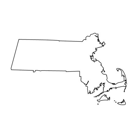 Massachusetts MA state Maps. Black outline map isolated on a white background. EPS Vector