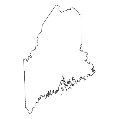 Maine ME state Maps. Black outline map isolated on a white background. EPS Vector