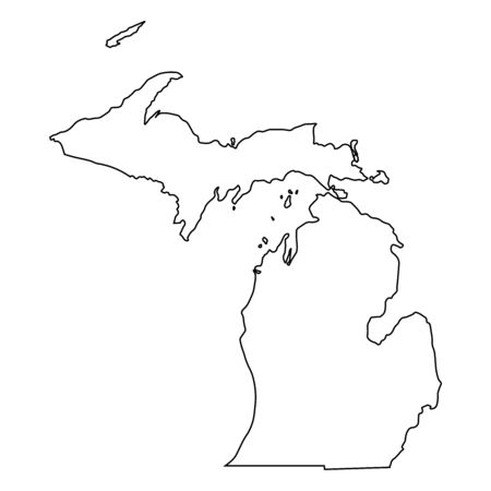 Michigan MI state Maps. Black outline map isolated on a white background. EPS Vector