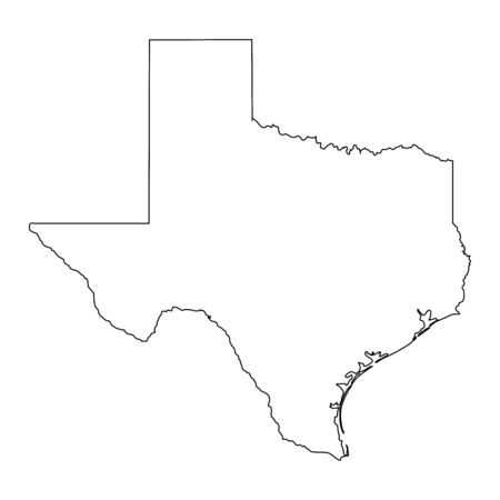 Texas TX state Map USA. Black outline map isolated on a white background. EPS Vector