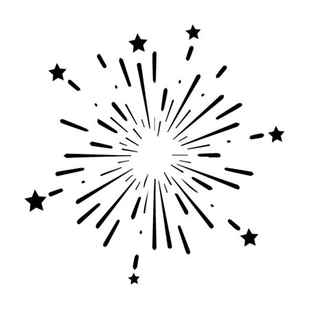 Fireworks Explosion Boom Bomb with Stars Design. Black Icon Illustration Isolated on a White Background. EPS Vector