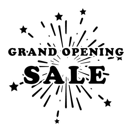 Grand Opening Sale Fireworks Stars Promotion Marketing Banner Poster. Advertising Ads new retail shop e-commerce business during grand soft open. Black Illustration Isolated on White Background Vecto