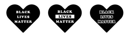 Black Lives Matter Text Wording in Heart Love Shape Icon. BLM movement peace peaceful justice. Black Illustration Isolated on a White Background. EPS Vector