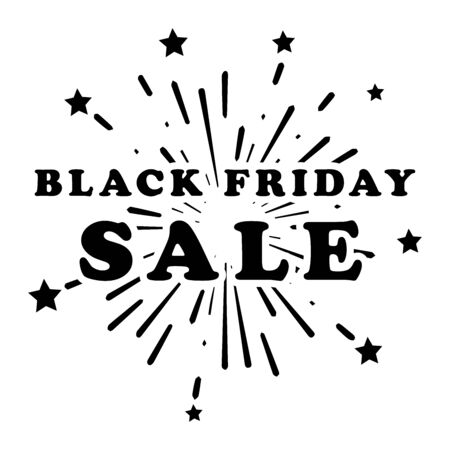 Black Friday Sale Shopping with Fireworks Stars Promotion Marketing Banner Poster. Advertising Ads for retail shop e-commerce business beginning of the Christmas shopping season. Black Illustration Isolated on a White Background. EPS Vector