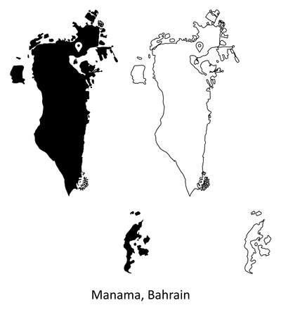 Manama Bahrain. Detailed Country Map with Capital City Location Pin. Black silhouette and outline maps isolated on white background. EPS Vector