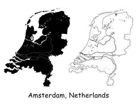 Amsterdam, Netherlands. Detailed Country Map with Location Pin on Capital City. Black silhouette and outline maps isolated on white background. EPS Vector