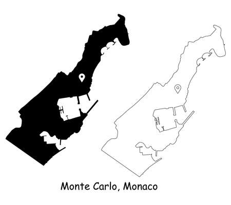 Monte Carlo, Monaco. Detailed Country Map with Location Pin on Capital City. Black silhouette and outline maps isolated on white background. EPS Vector