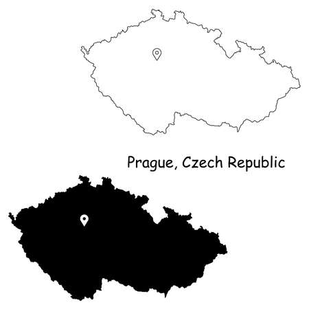 Prague Czechia Czech Republic. Detailed Country Map with Location Pin on Capital City. Black silhouette and outline maps isolated on white background. EPS Vector