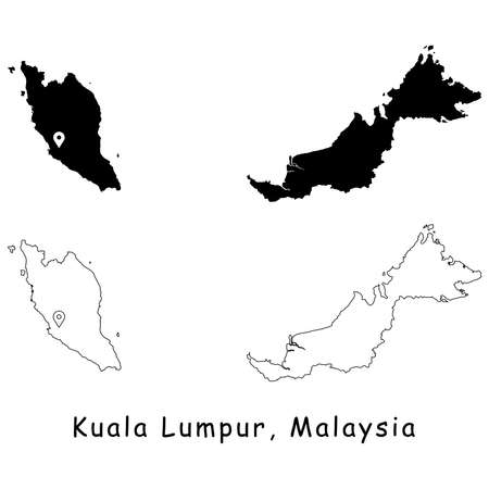 Kuala Lumpur, Malaysia. Detailed Country Map with Location Pin on Capital City. Black silhouette and outline maps isolated on white background. EPS Vector Illustration