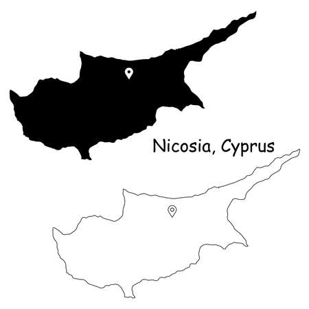 Nicosia Cyprus. Detailed Country Map with Location Pin on Capital City. Black silhouette and outline maps isolated on white background. EPS Vector Ilustração