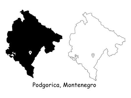 Podgorica, Montenegro. Detailed Country Map with Location Pin on Capital City. Black silhouette and outline maps isolated on white background. EPS Vector