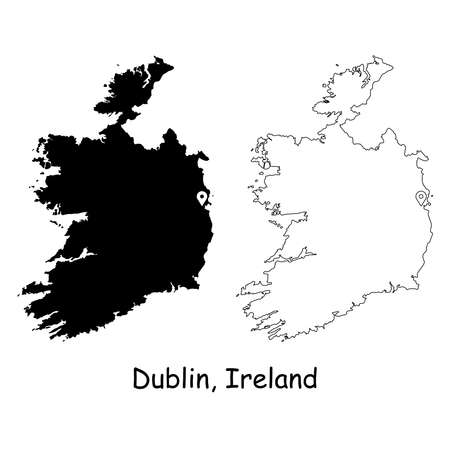 Dublin Ireland. Detailed Country Map with Location Pin on Capital City. Black silhouette and outline maps isolated on white background. EPS Vector