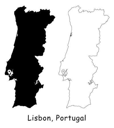Lisbon, Portugal. Detailed Country Map with Location Pin on Capital City. Black silhouette and outline maps isolated on white background. EPS Vector