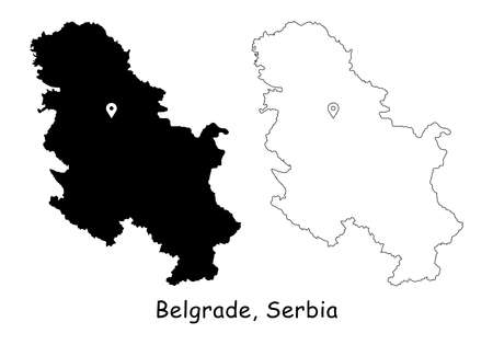 Belgrade, Serbia. Detailed Country Map with Location Pin on Capital City. Black silhouette and outline maps isolated on white background. EPS Vector 矢量图像