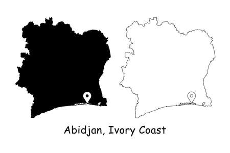 Abidjan, Ivory Coast. Detailed Country Map with Location Pin on Capital City. Black silhouette and outline maps isolated on white background. EPS Vector