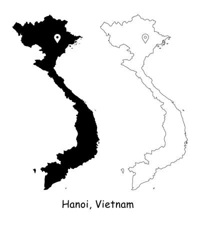 Hanoi, Vietnam. Detailed Country Map with Location Pin on Capital City. Black silhouette and outline maps isolated on white background. EPS Vector