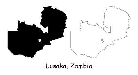 Lusaka, Zambia. Detailed Country Map with Location Pin on Capital City. Black silhouette and outline maps isolated on white background. EPS Vector