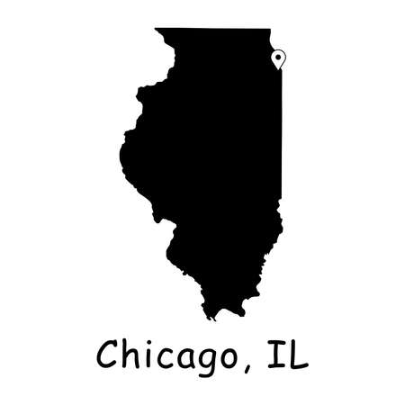 Chicago on Illinois State Map. Detailed IL State Map with Location Pin on Chicago City. Black silhouette vector map isolated on white background.