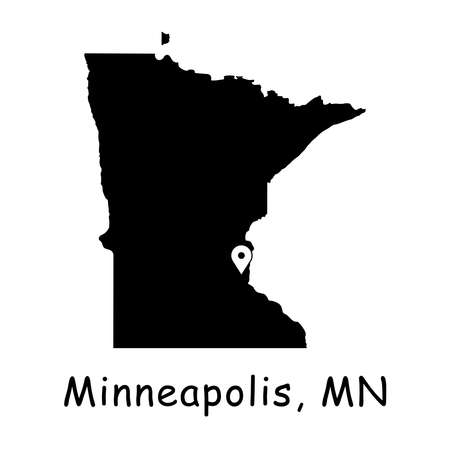 Minneapolis on Minnesota State Map. Detailed MN State Map with Location Pin on Minneapolis City. Black silhouette vector map isolated on white background. Иллюстрация