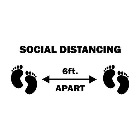 Social Distancing Two Footprints 6ft Apart. Six Feet Apart Social Distancing Preventive Measures Feet Foot Sign Diagram During Virus Pandemic Outbreak