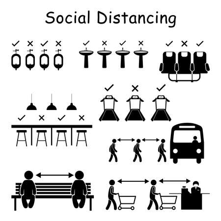 Social Distancing Signs in Public Spaces. Vector Pictogram Depicting Social Distance Practice Signs for Urinal Hand Washing Sinks Airplane Seats Bar Dinning Treadmill Gym Line Queue Cashier Bench Vettoriali
