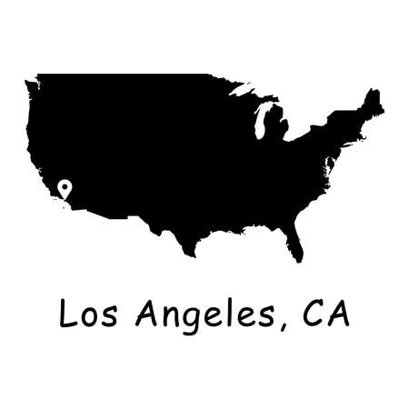 City of Los Angeles on USA Map. Detailed America Country Map with Location Pin on L.A. Black silhouette vector maps isolated on white background.