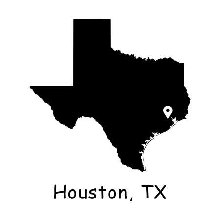 Houston on Texas State Map. Detailed TX State Map with Location Pin on Houston City. Black silhouette vector map isolated on white background.