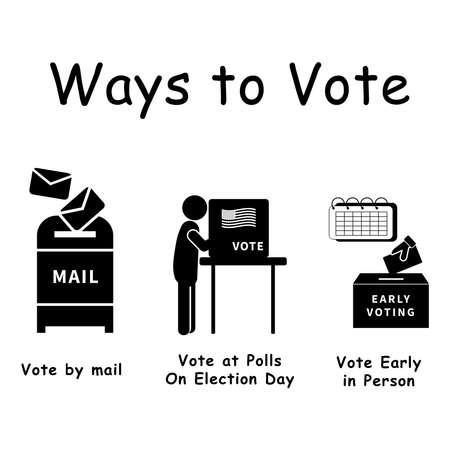 Three Ways to Vote, Pictogram depicting 3 ways voters can vote for election voting. By mail, in person at polls, early voting Black and white EPS Vector.