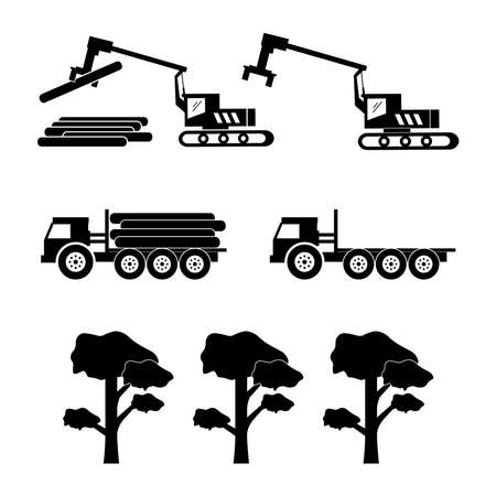 Logging Machine Logger Loader. Icon depicting heavy machinery equipment and trucks used for logging and deforestation. Black and white EPS Vector