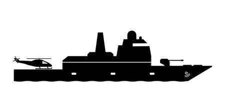 Frigate Warship with Helicopter Dock. Icon Pictogram Depicting Frigate Navy Naval Military War Battership with helipad. Black and White EPS Vector