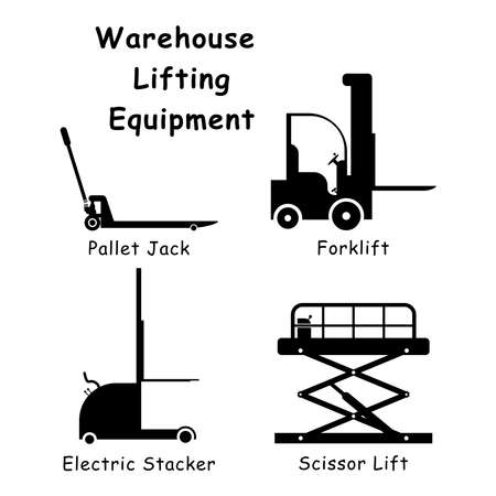 Warehouse Lifting Equipment. Black and white pictogram illustration depicting various factory warehouse lifting machines such as forklit, pallet jack, electric sacker and scissors lift. EPS Vector Vektorgrafik
