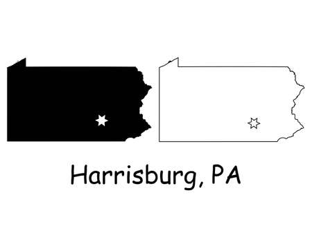 Pennsylvania PA state Map USA with Capital City Star at Harrisburg. Black silhouette and outline isolated on a white background. EPS Vector