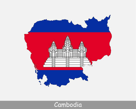 Cambodia Map Flag. Map of Cambodia with the  Cambodian national flag isolated on white background. Vector Illustration.