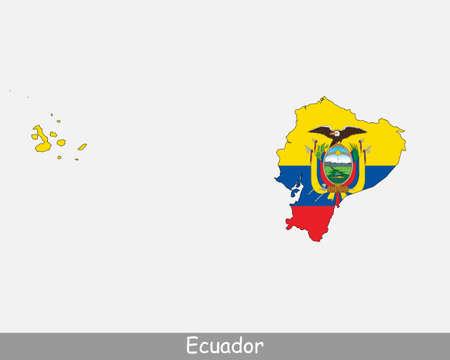 Ecuador Map Flag. Map of Ecuador with the Ecuadorian national flag isolated on white background. Vector Illustration.