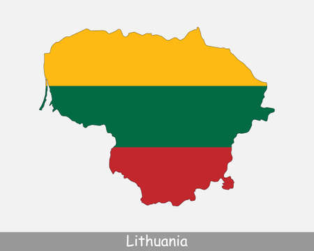 Lithuania Map Flag. Map of the Republic of Lithuania with the Lithuanian national flag isolated on white background. Vector Illustration.