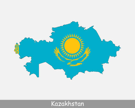 Kazakhstan Map Flag. Map of the Republic of Kazakhstan with the Kazakhstani national flag isolated on white background. Vector Illustration. 向量圖像