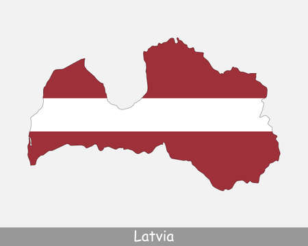 Latvia Map Flag. Map of the Republic of Latvia with the Latvian national flag isolated on white background. Vector Illustration.